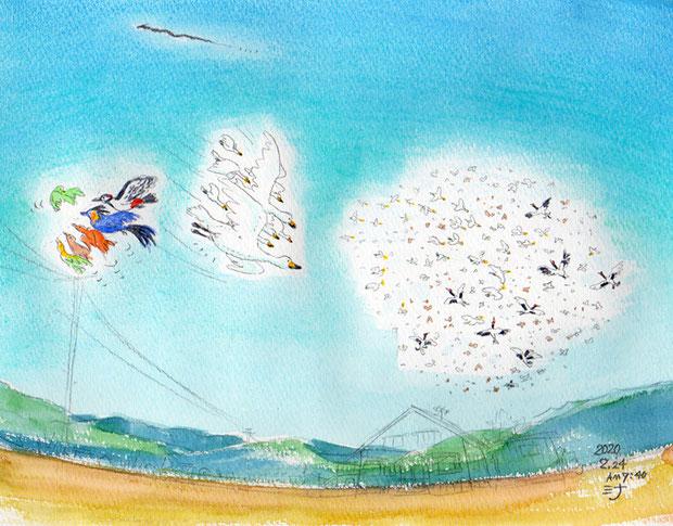 「夢」スケッチ:とり!トリ!鳥!そして遠くに小さな龍??