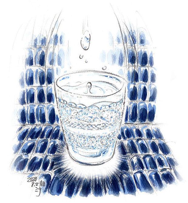 「夢」スケッチ:クリスタルガラスのグラスに、きれいなお水が満たされていた♪
