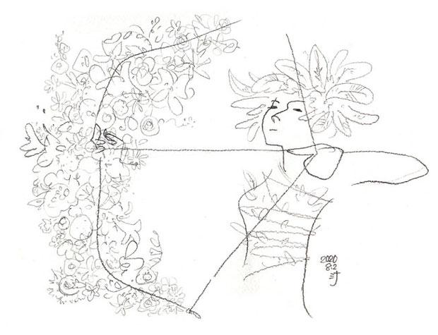 「夢」スケッチ:お花でいっぱいの弓を引く☆