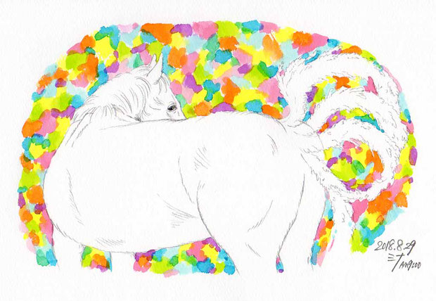 夢スケッチ:白馬が出てきて振り返る!