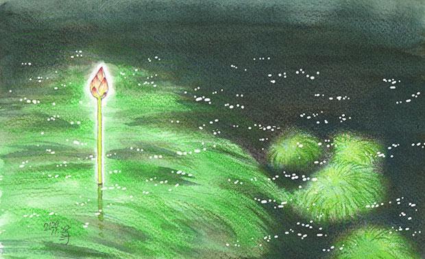 「夢」スケッチ:静かな夜の大きな池 in ハスの花のつぼみ