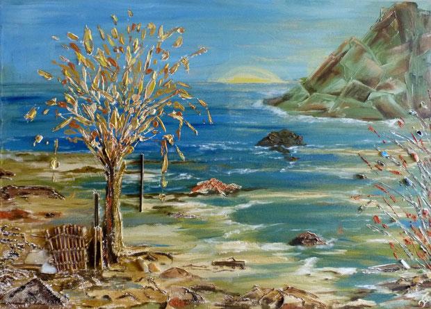Muscheln und Strand am Meer.