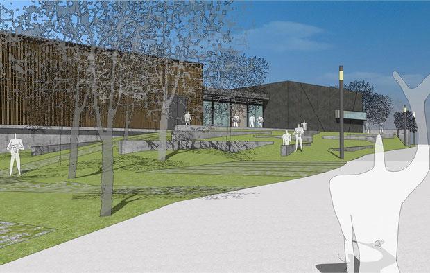 neubau hörsaalzentrum uni duisburg essen visualisierung drahtler architekten planungsgruppe dortmund