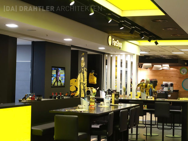 Bvb, Borussia Dortmund, Dortmund Fußball, Fan Shop BVB, Drahtler Architekten, Architektur, Ausbau, Umbau