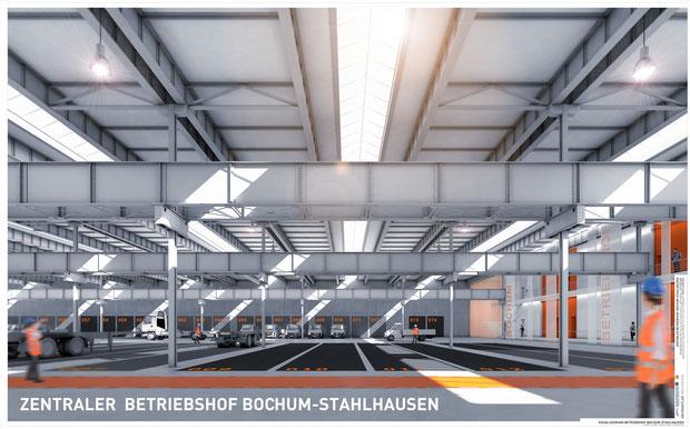 Zentraler Betriebshof Bochum-Stahlhausen, Visualisierung einer Fertigungshalle, Drahtler Architekten 2016