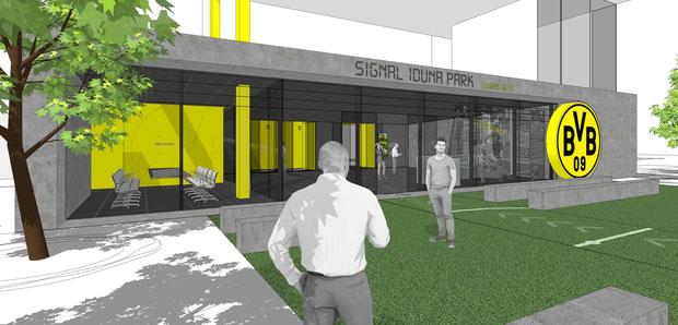 bvb borussia dortmund stadion drahtler architekten dortmund planungsgruppe signal iduna park schwarz gelb