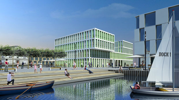 DOCK 1 - PHÖNIX See Dortmund Visualisierung drahtler architekten planungsgruppe dortmund visualisierung