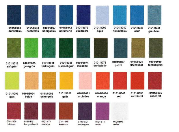 Farbtabelle Bucheinbandstoff Iris®