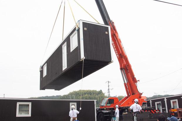 2020年9月、倉敷市から熊本県へ移設されるムービングハウス