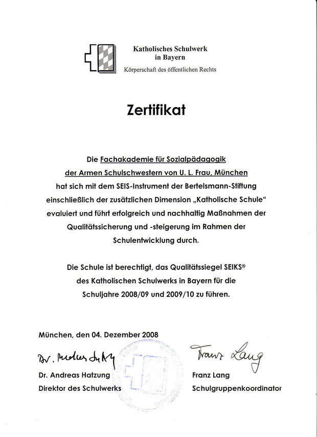 1. Zertifikat nach dem Evaluationsdurchgang 2008