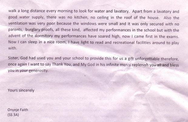 Dankschreiben einer Schülerin im Sommer 2010