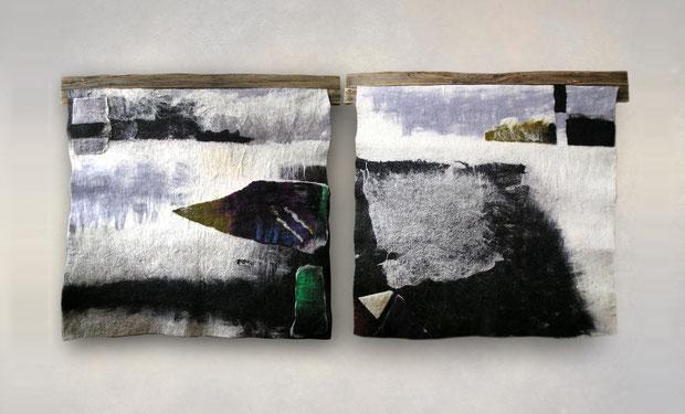 """Из серии """"Северный пейзаж"""", диптих, шерсть, мокрое валяние, 2010, 180х90 см."""