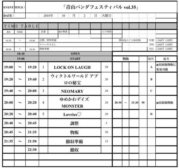 10月2日(火)青山RizM