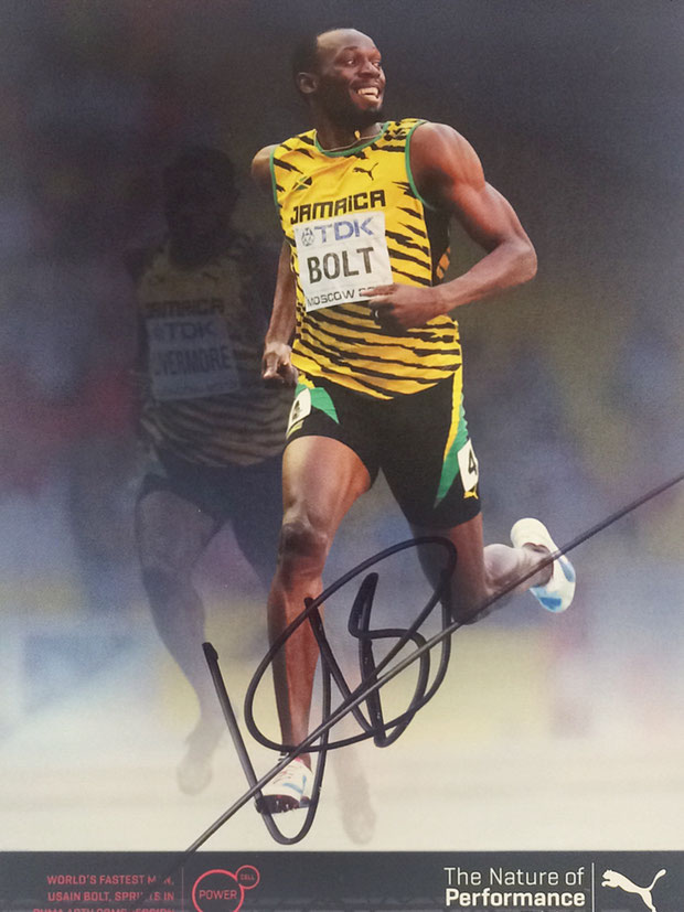 Usain Bolt, Jamaica, 100m, 8 times Olympia Gold, 11 times Worldchampion, World Record Holder 9.58 sec for 100m and 19.19 sec for 200m, Autograph bought