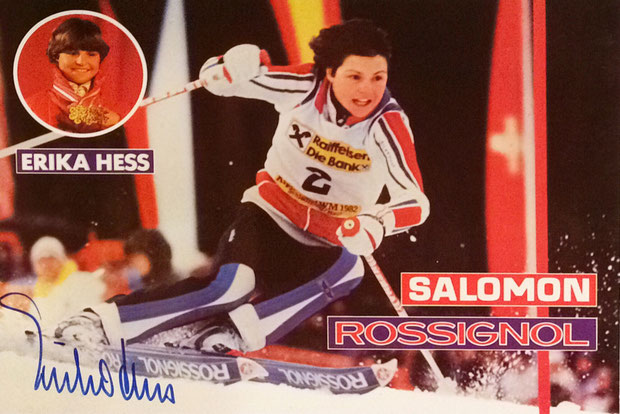 Erika Hess retired Swiss Skier, 31 Races won, 6 times World Champion Gold, Olympia Bronze Medal 1980, Autograph received by Mail