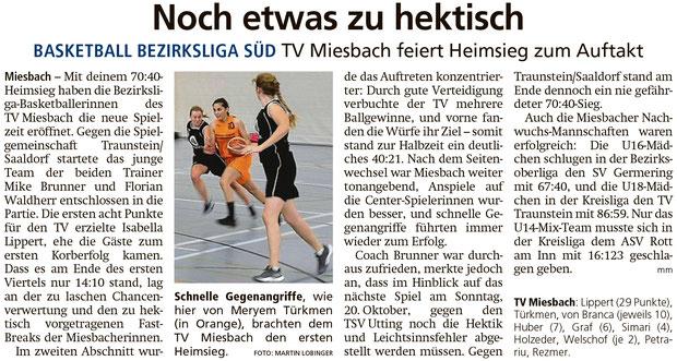 Bericht im Miesbacher Merkur am 8.10.2019 - Zum Vergrößern klicken