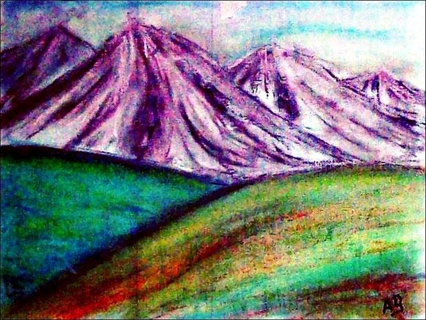 Berglandschaft-Pastellmalerei-Pastellkreide-Landschaft-Berge-Schnee-Hügel-Feld-Wiese-Pastellbild-Pastellgemälde-Moderne Malerei