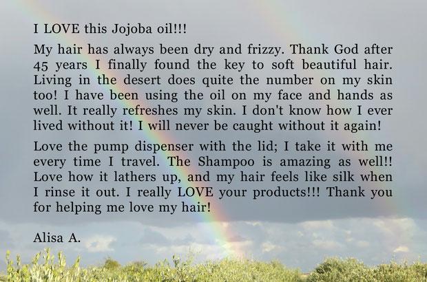 ♔ お便りです❤有り難うございます ★I LOVE this jojoba oil!!! Alisa A. 様より ★彡