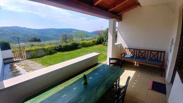 Green apt. - outdoor dining zone, view from patio -  Belvedere apartments Izola