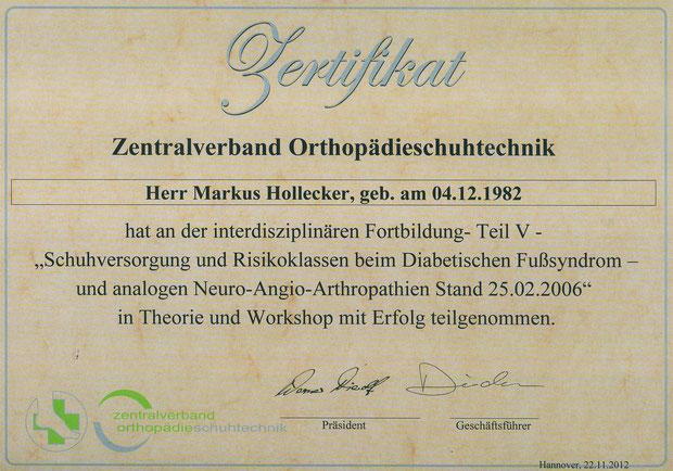 Zertifikat de Zentralverbandes Orthopädie Schuhtechnik