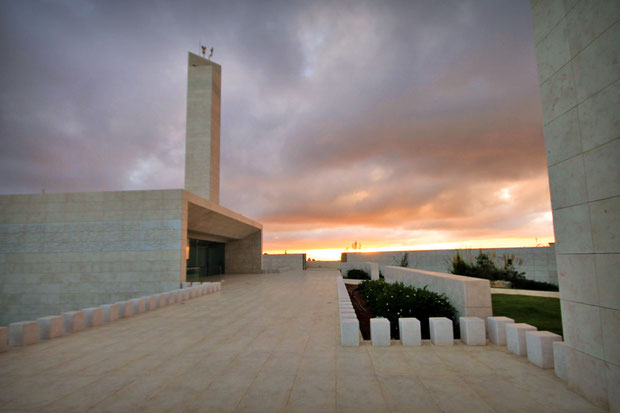 In front of the Mausoleum in Ramallah that contains the tomb of Yasser Arafat. © Sabrina Iovino | JustOneWayTicket.com