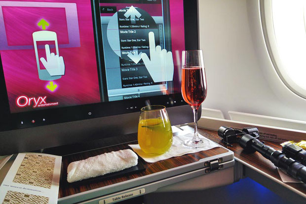 Entertainment System on Board | Review: Qatar Airways Business Class A380 Doha to Atlanta Inaugural Flight | via @Just1WayTicket