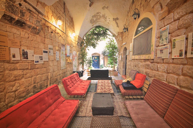 Cosy place to relax... Hotel Review: Fauzi Azar Inn - A 200 year old Arab Mansion in Nazareth, Israel © Sabrina Iovino | JustOneWayTicket.com