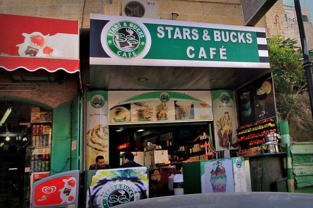 There is no Starbucks in Bethlehem. But there is Stars & Bucks... © Sabrina Iovino | JustOneWayTicket.com