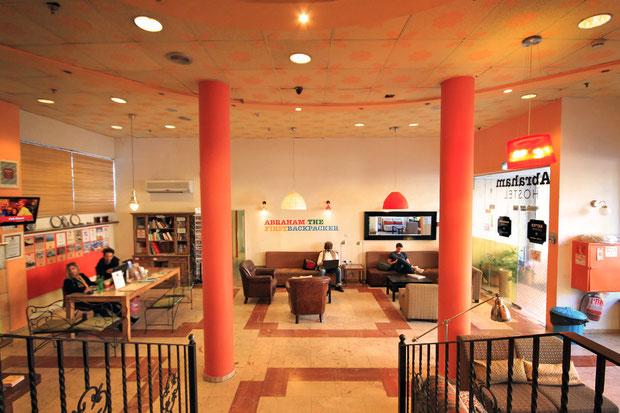 The funky lobby of the Abraham Hostel in Jerusalem, Israel © Sabrina Iovino   JustOneWayTicket.com