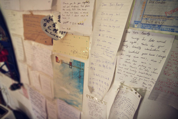 Notes on the kitchen walls at Yoo's Family Guesthouse in Seoul, South Korea © Sabrina Iovino | JustOneWayTicket.com