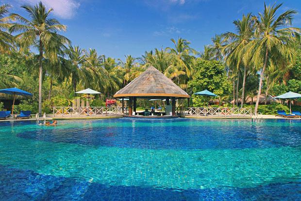 Swimming Pool with Bar at Bandos Island - That one time I got invited to the Maldives © Sabrina Iovino | via @Just1WayTicket
