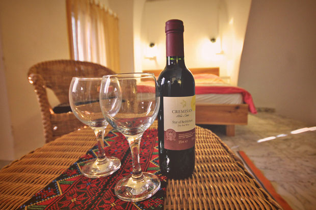 Wine from Bethlehem. Hotel Review: Fauzi Azar Inn - A 200 year old Arab Mansion in Nazareth, Israel © Sabrina Iovino | JustOneWayTicket.com