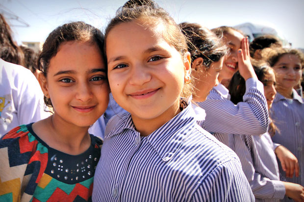 I ran into a group of Palestinian school girls at the Sebastia Archaeological Park, an ancient Roman city in the Northern West Bank... © Sabrina Iovino | JustOneWayTicket.com