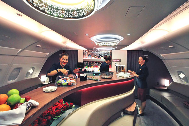 Cheerful Staff at the Lounge Bar | Review: Qatar Airways Business Class A380 Doha to Atlanta Inaugural Flight | via @Just1WayTicket