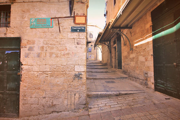 Narrow streets in the Old City - Hotel Review: Fauzi Azar Inn - A 200 year old Arab Mansion in Nazareth, Israel © Sabrina Iovino | JustOneWayTicket.com