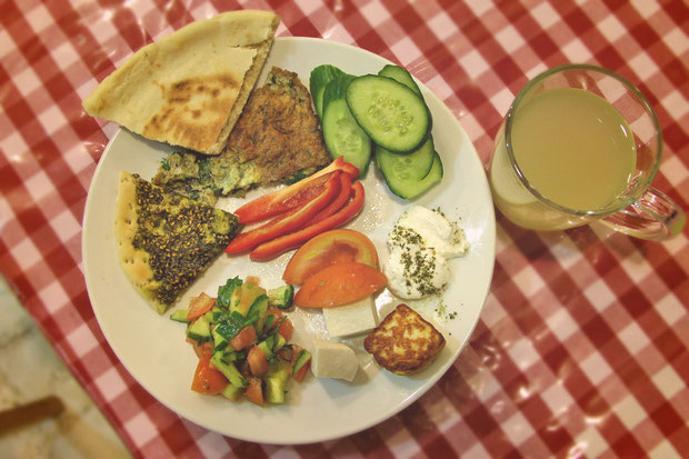 Best Breakfast Ever. Hotel Review: Fauzi Azar Inn - A 200 year old Arab Mansion in Nazareth, Israel © Sabrina Iovino | JustOneWayTicket.com