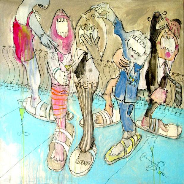 Das große Schlappengelache, Laughing in big Slippers, verkauft, 80x80 cm