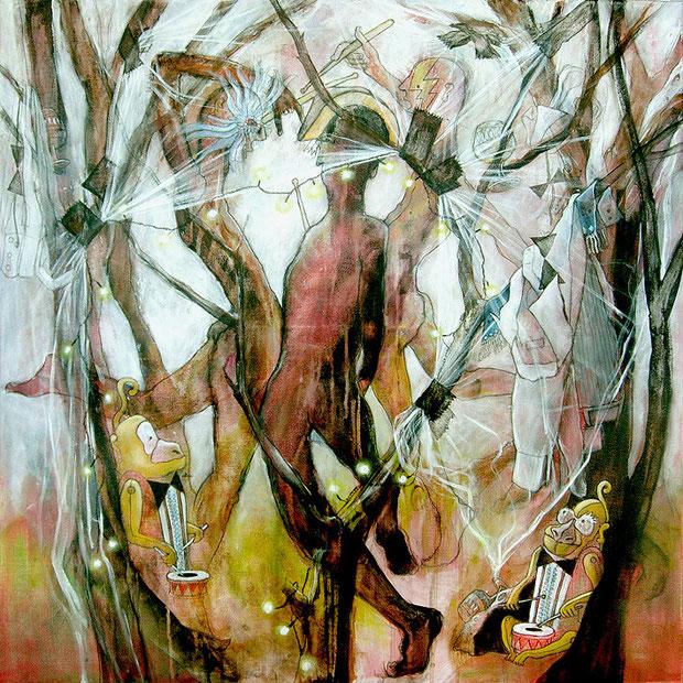 La Fête des Tambours, 80x80 cm, Acryl auf Leinwand