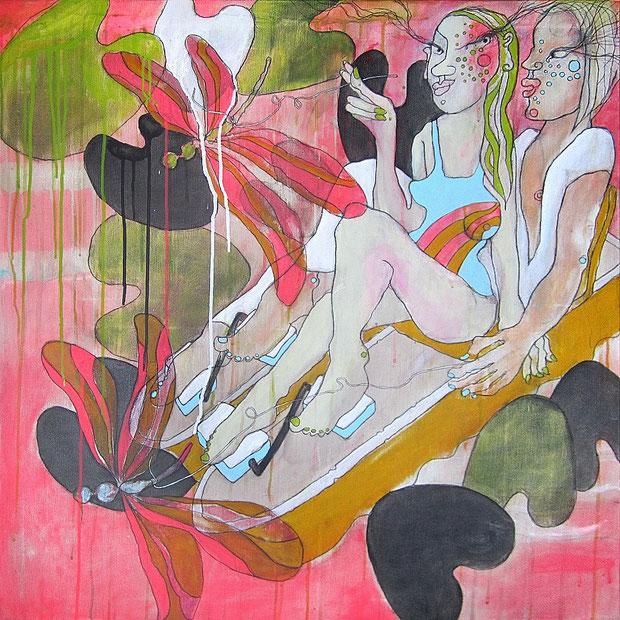 Pedalos, 80x80 cm, Acryl auf Leinwand