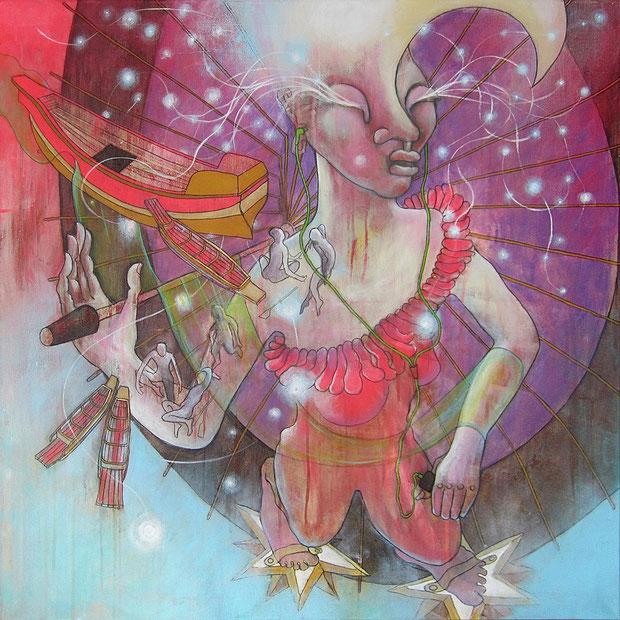 La Nuit blanche, 80x80 cm, Acryl auf Leinwand