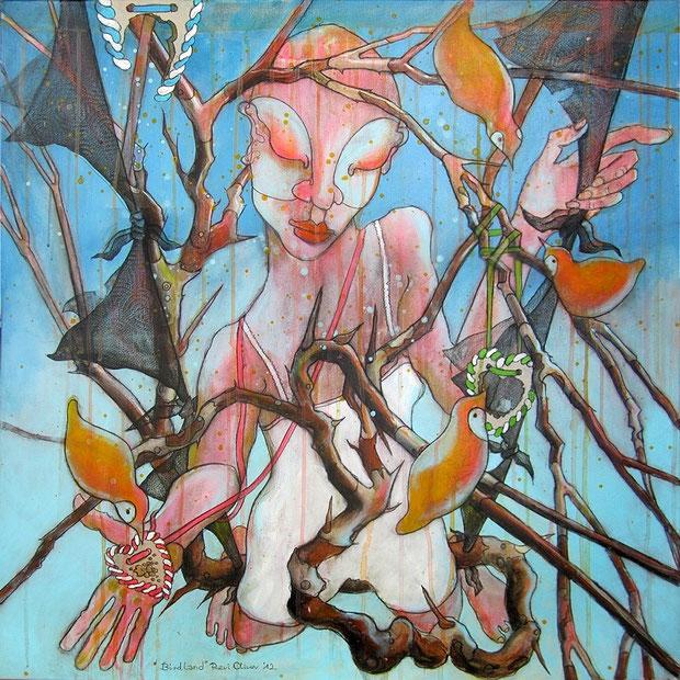 Birdland, 80x80 cm, Acryl auf Leinwand