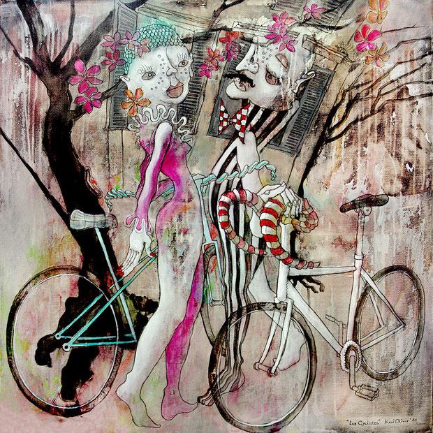 Les Cyclistes, 80x80 cm, Acryl auf Leinwand