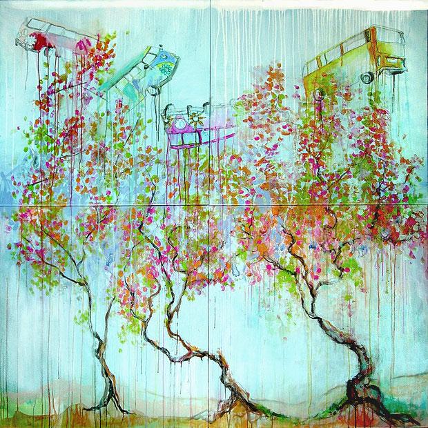 Treedrops, 160x160 cm, Acryl auf Leinwand