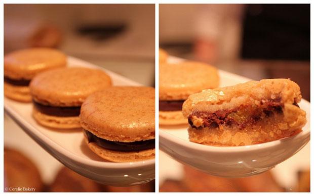 Lebkuchen Macaron mit Honigganache und Orangenmarmelade