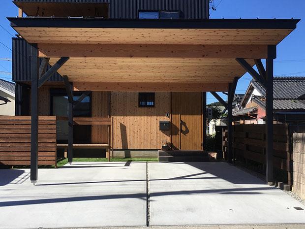 森町F邸・木製カーポート施工