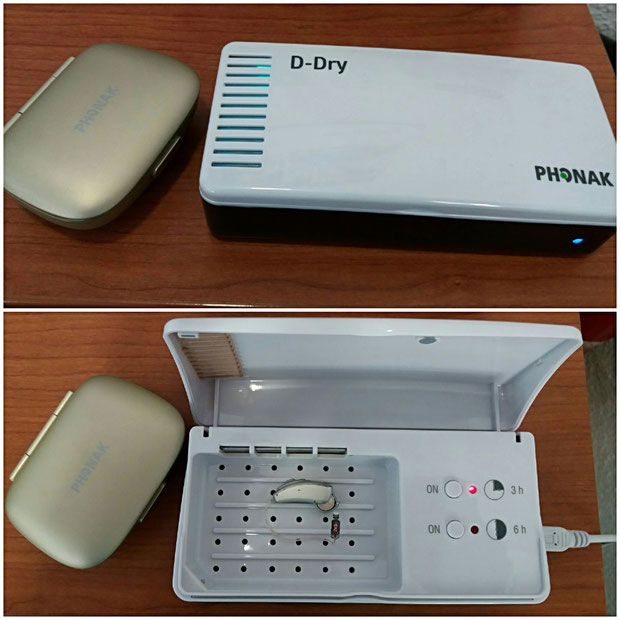Deshumidificador Phonak D-Dry. Ha de recordar quitar las pilas del audífono antes de utilizar el deshumidificador (al hacer la foto se nos olvidó).