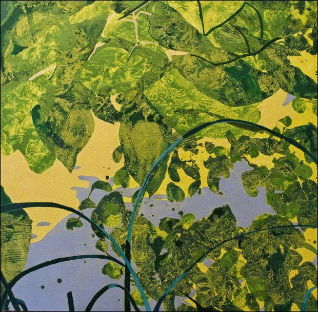 jardin d'Eden VI c, acrylique sur toile, 80 x 80 cm