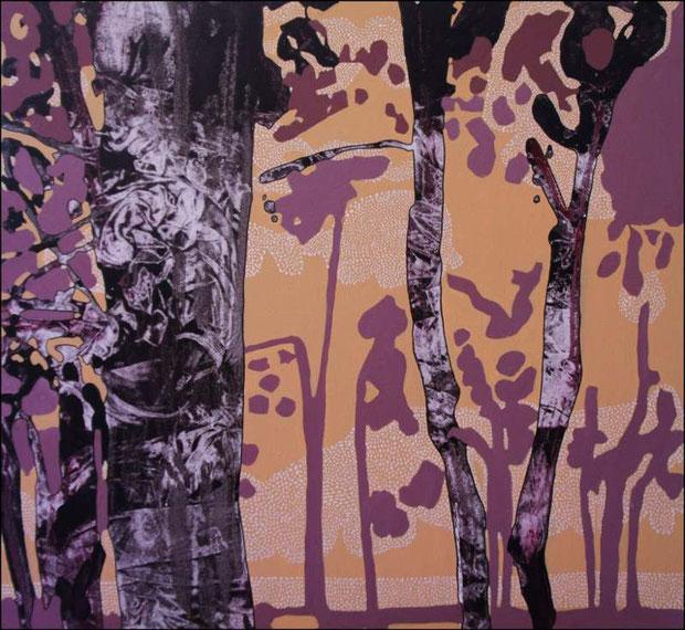 jardin d'Eden I, acrylique sur toile, 65 x 65 cm