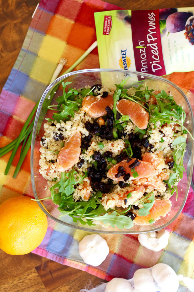 Want healthy salad recipes? This citrus salad with citrus vinaigrette is made with plenty of prunes benefits. It will be one of your top vegetarian recipes! #ad #vegetarian #prunerecipes #sunsweet #citrus #saladrecipe #salad