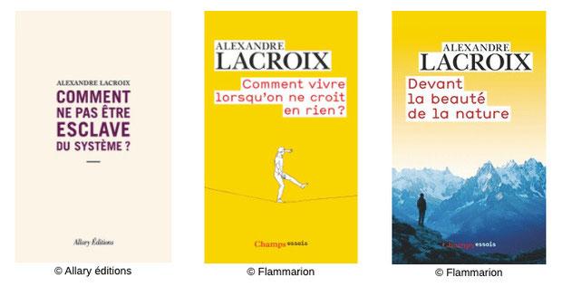 3 essais philosophiques Alexandre Lacroix, comment ne pas être esclave du système, comment vivre lorsque l'on ne croit en rien, devant la beauté de la nature